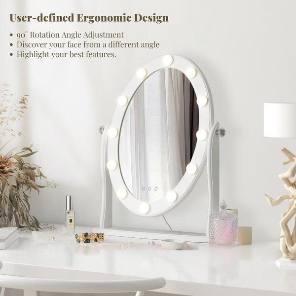 Starry 8 Round Hollywood Mirror 12 Touch Control LED Lights adjustable angel