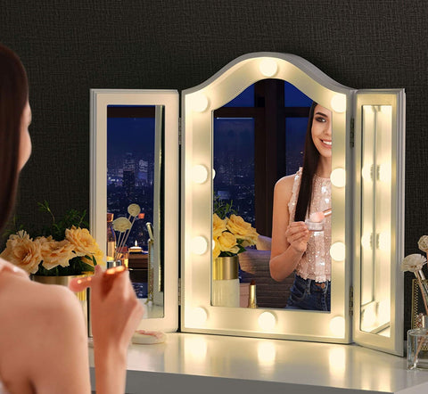 Luxfurni Starry 5 Tri-fold makeup vanity mirror with LED lights