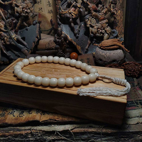 All-White White Bodhi Root Mala 27 Beads | Mantrapiece.com