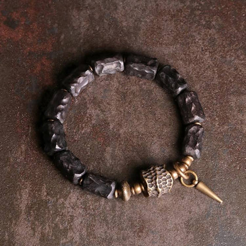 Black Sandalwood Brass Ox Bone Mala Bracelet | MANTRAPIECE