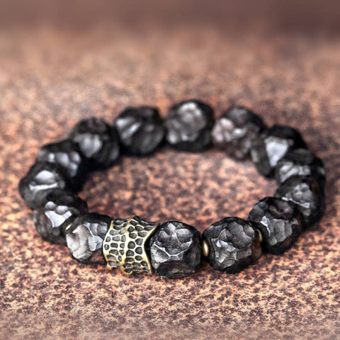 Black Sandalwood Nugget Brass Ox Bone Mala Bracelet | MANTRAPIECE