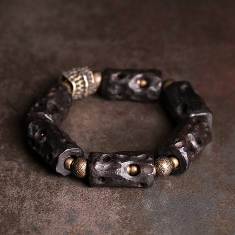 Black Sandalwood Nugget Brass Ox Bone Wrist Mala - Mantrapiece.com