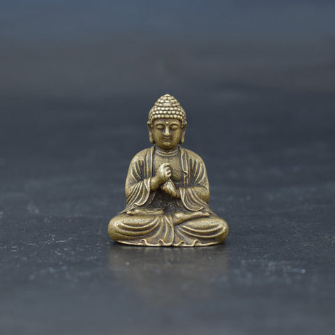 Buddha Meditating Dharmachakra Mudra Pose Antique Brass Figurine - Mantrapiece.com