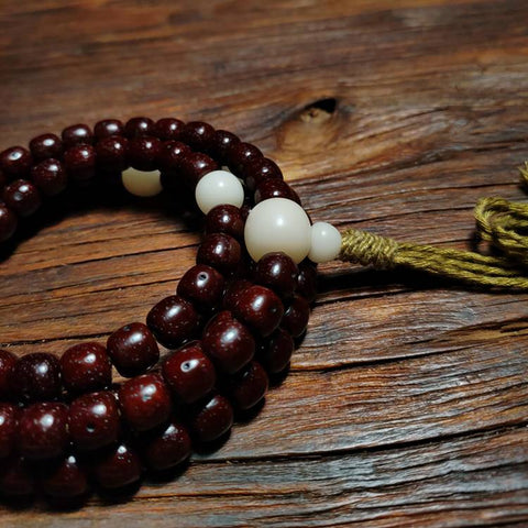 Dark Red Star and Moon Bodhi Mala 108 Beads | Mantrapiece.com