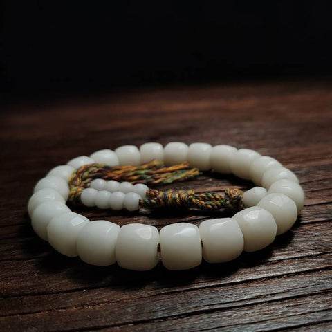 Hand Carved Nugget White Bodhi Root Wrist Mala | Mantrapiece.com