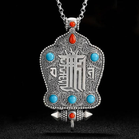 Kalachakra Seed Syllable Silver Scroll Locket | MANTRAPIECE