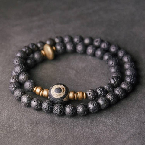 Lava Rock Brass Dzi Bead Double Wrap Mala Bracelet | MANTRAPIECE