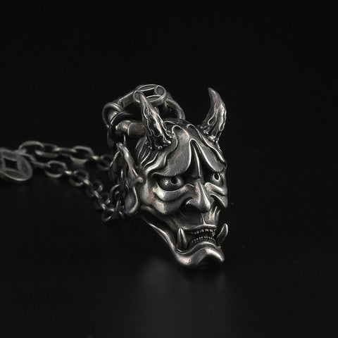 Mara Demon Head Silver Pendant - Mantrapiece.com