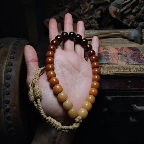 Ombre Aged Yellow Brown White Bodhi Root Mala 27/36 Beads | Mantrapiece.com