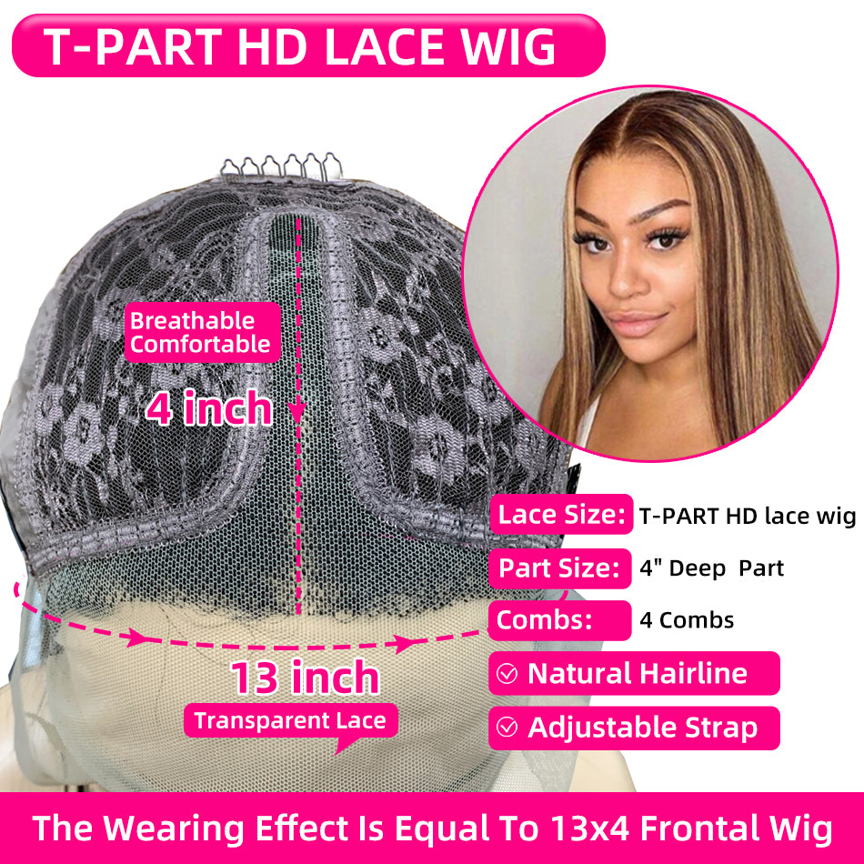 Cheap 13x1 T Part Highlight Human Hair Wigs Straight 150% Density
