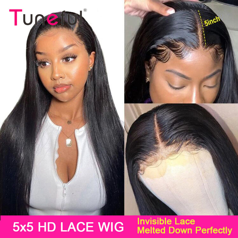 4x4 5x5 Lace Closure Human Hair Wigs Straight Tuneful
