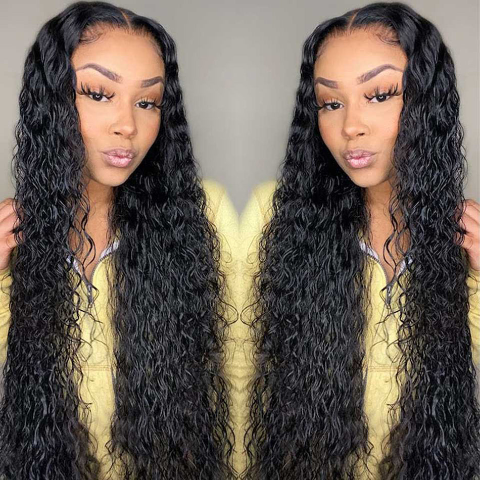 4x4 5x5 Lace Closure Human Hair Wigs Water Wave Tuneful Pre Plucked 150%  180% Brazilian