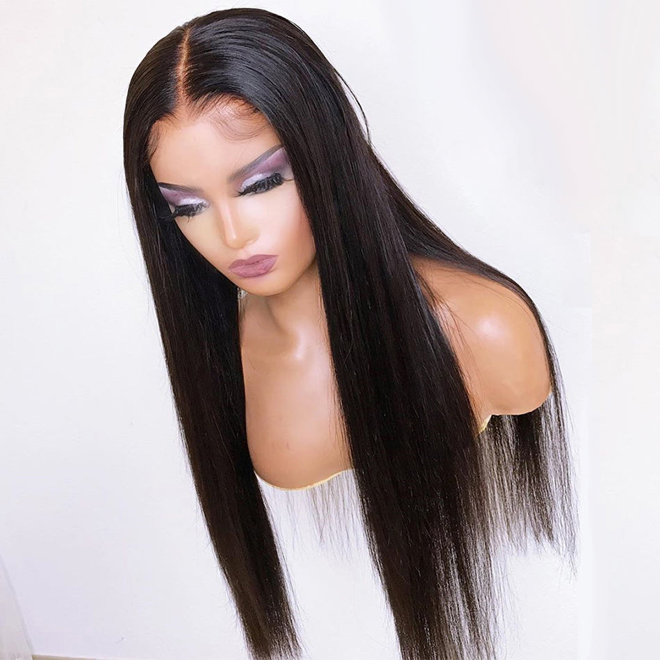 Straight Tuneful Pre Plucked 180% 150% Malaysian Remy Human Hair Wig Lace Closure Wigs For Women