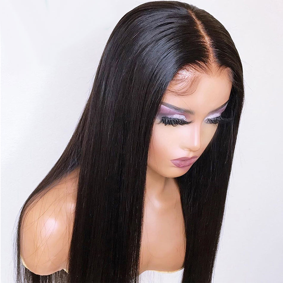 4x4 5x5 Lace Closure Human Hair Wigs Straight Tuneful Pre Plucked  For Women