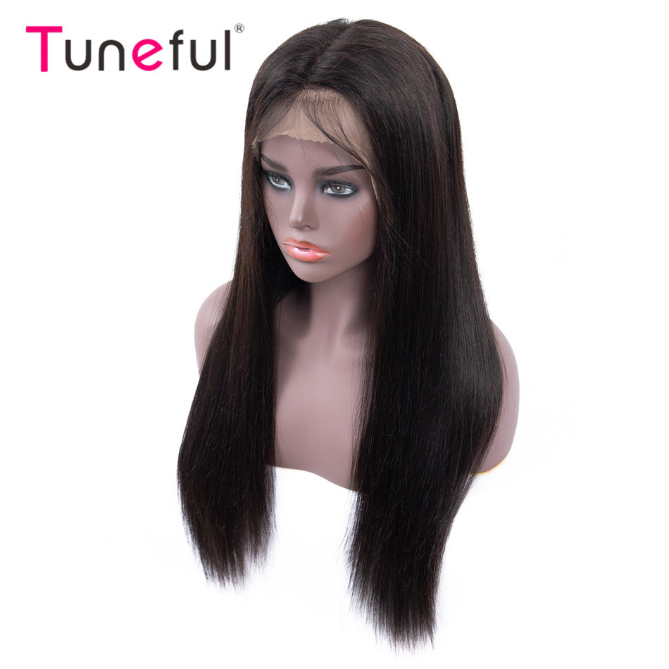 Straight Pre Plucked With Baby Hair Tuneful 150% Malaysian Remy Human Hair Wigs