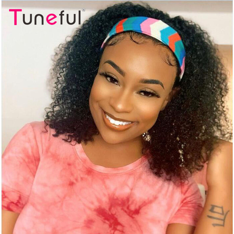 Tuneful Headband Wigs Curly Human Hair Wigs For Women