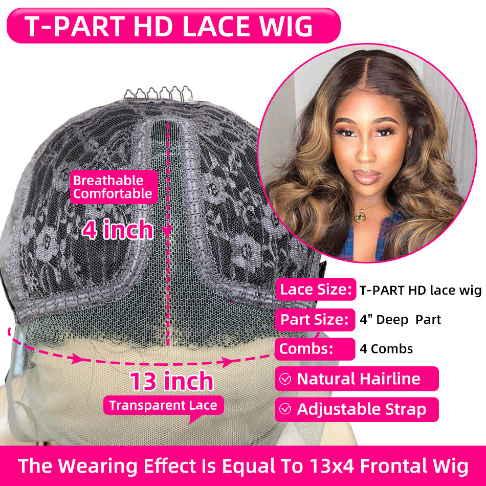 Cheap 13x1 T Part Highlight Remy Human Hair Wig Lace Part Wigs