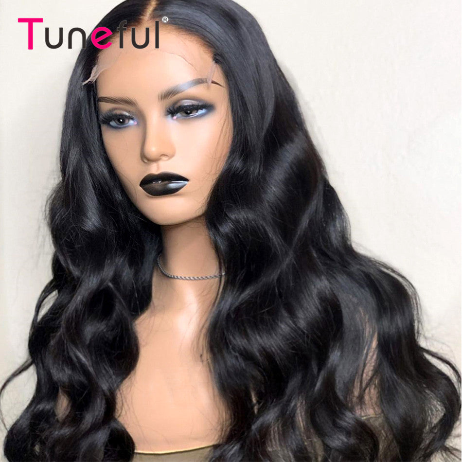Tuneful Pre Plucked 180% Brazilian Remy Human Hair Wig Lace Closure Wigs