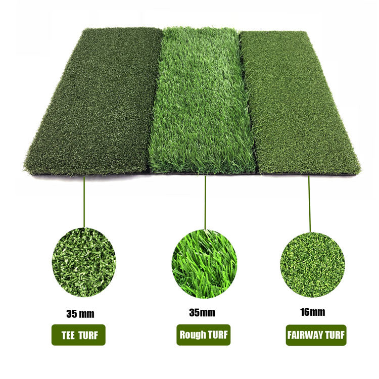 Mazel 3-in-1 Golf Hitting Mat Nylon Grass Rubber Pad Backyard Out door Golf Practice Mat-2