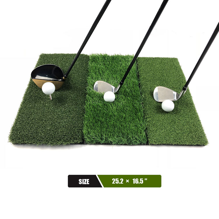 Mazel 3-in-1 Golf Hitting Mat Nylon Grass Rubber Pad Backyard Out door Golf Practice Mat-1