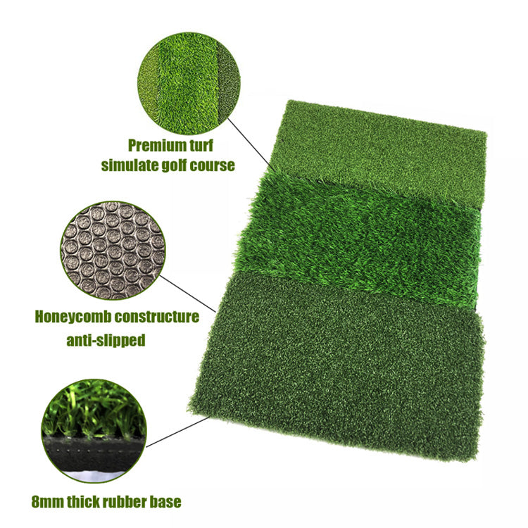 Mazel 3-in-1 Golf Hitting Mat Nylon Grass Rubber Pad Backyard Out door Golf Practice Mat-3