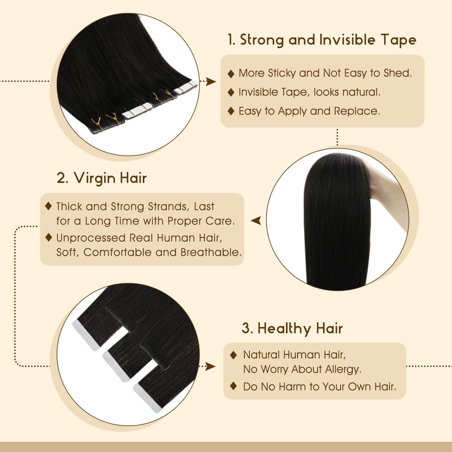 Jet Black Hair Extensions Injection Tape in Hair