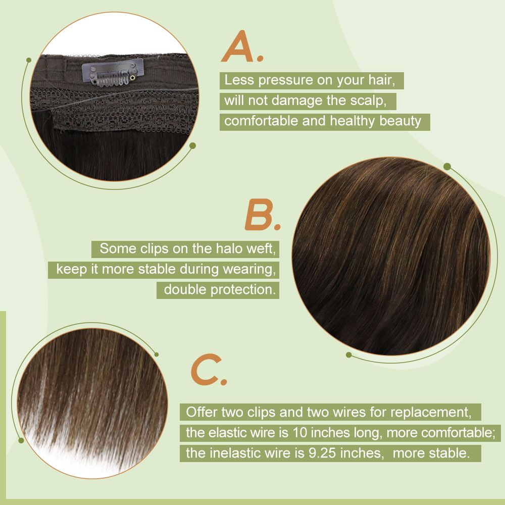 Halo Human Hair Extensions Invisible Wire