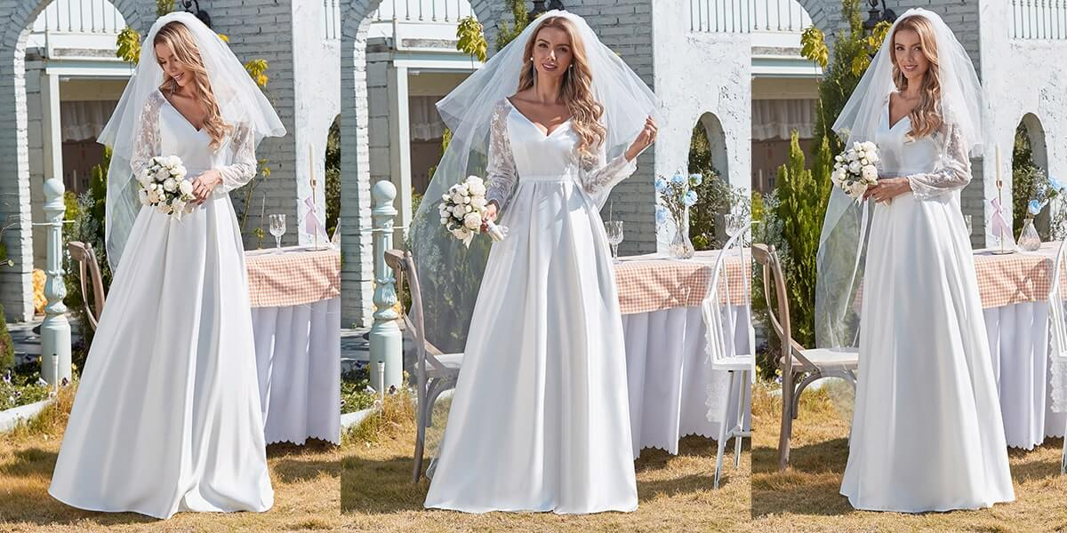Satin Wedding Gown with Lace Long Sleeves