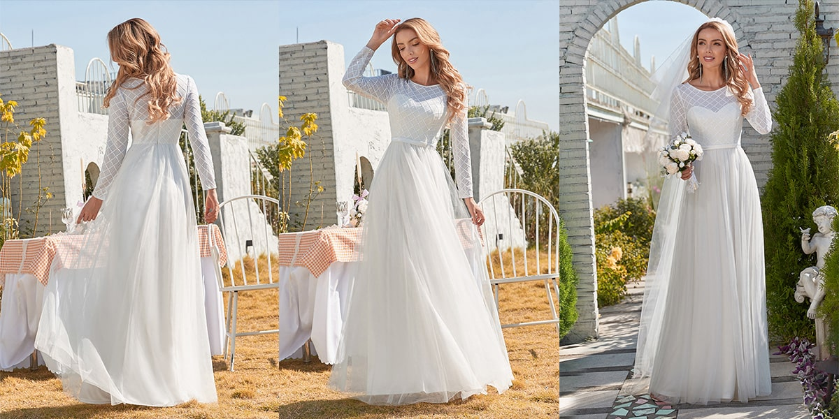 Maxi Tulle Wedding Dress with Long Sleeves