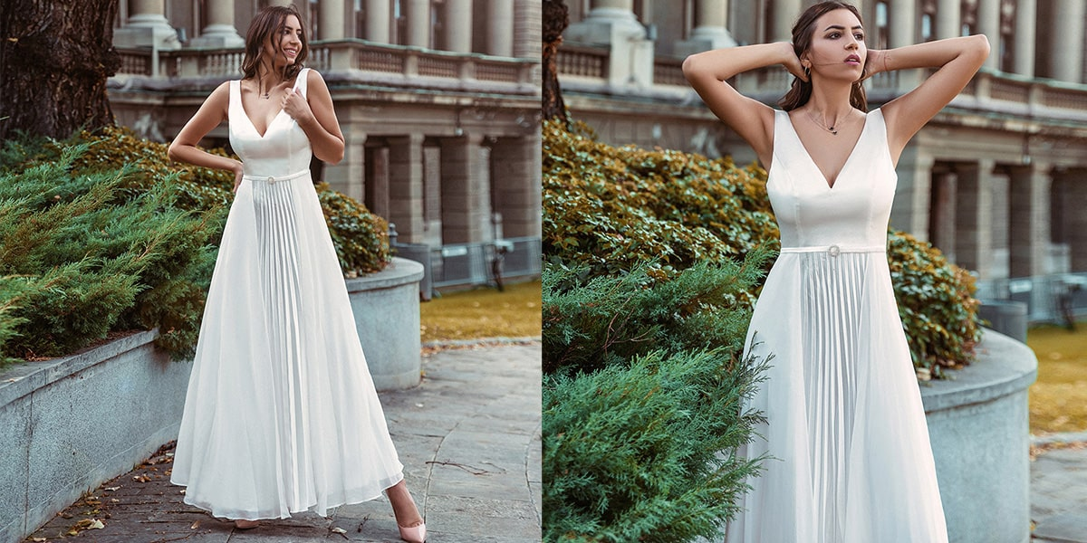 Sleeveless Wedding Dress with Pleated Design