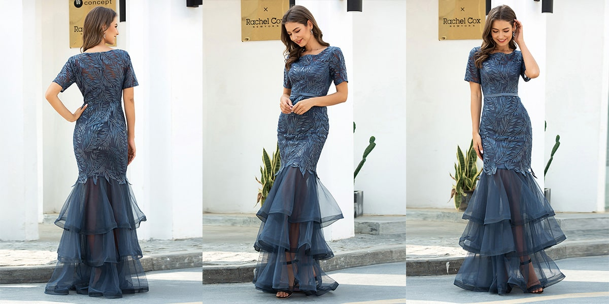 Mermaid Tulle Evening Dress for Women with Layers
