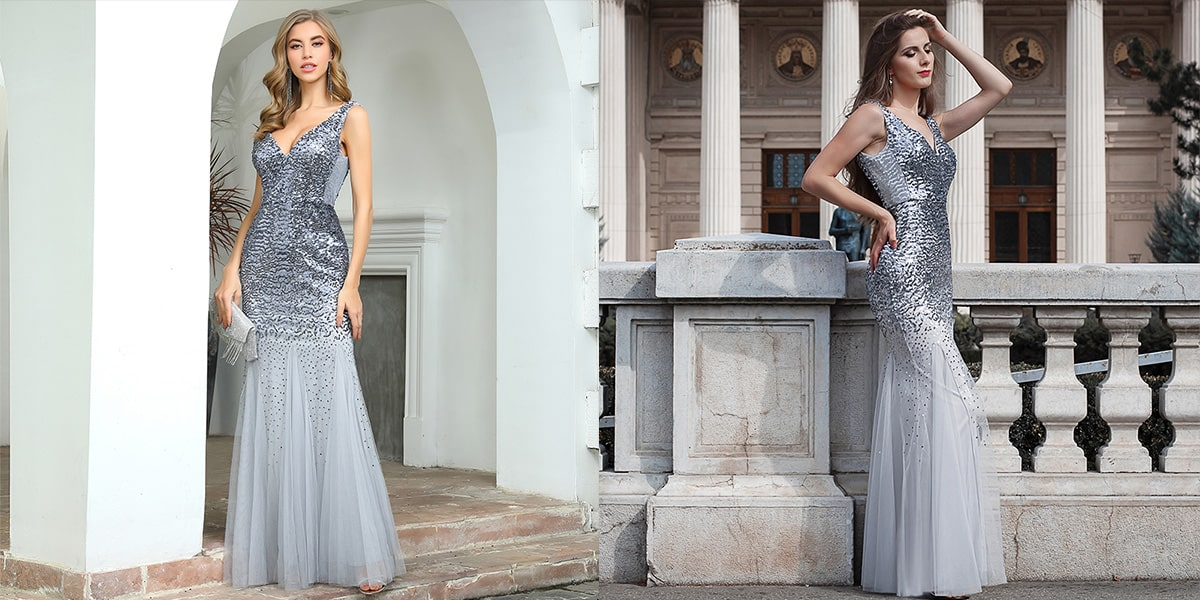 Long Tulle Evening Dress with Sequin