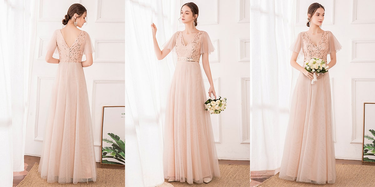 Bridesmaid Dress with Sequin Stripes