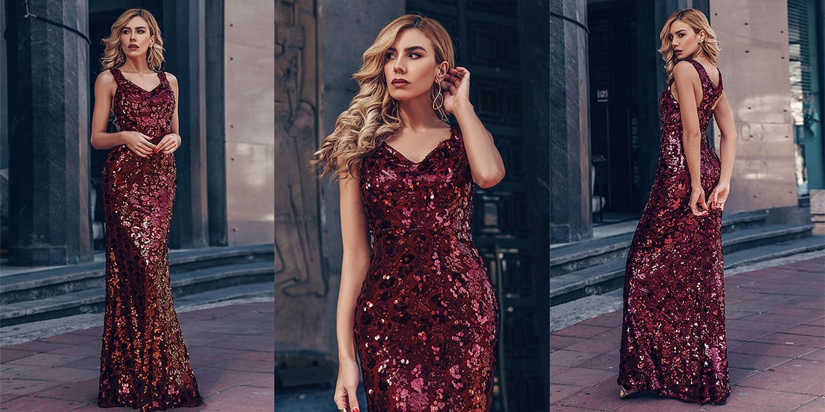 Mermaid Sequin Evening Gowns for Women