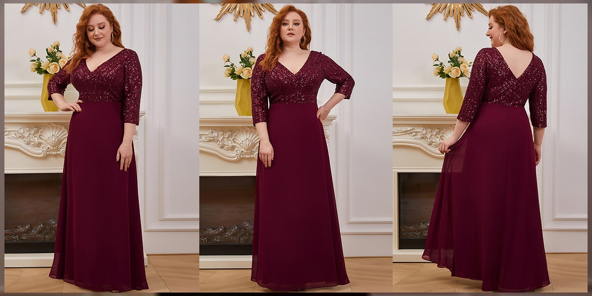 V Neck A-Line Sequin Evening Dress with Sleeve