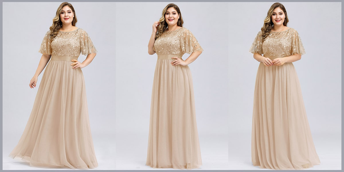 Embroidery Evening Dresses with Short Sleeve