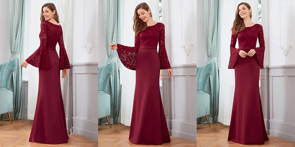 Lace Mermaid Evening Dress with Long Sleeve