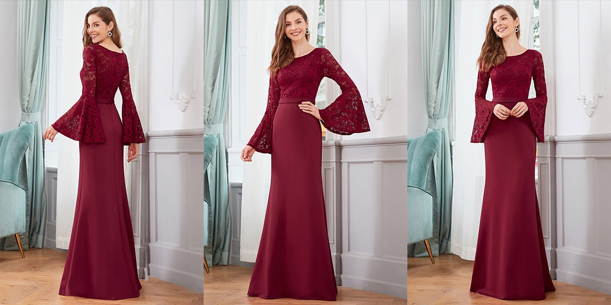 Mermaid Evening Dress with Long Sleeve
