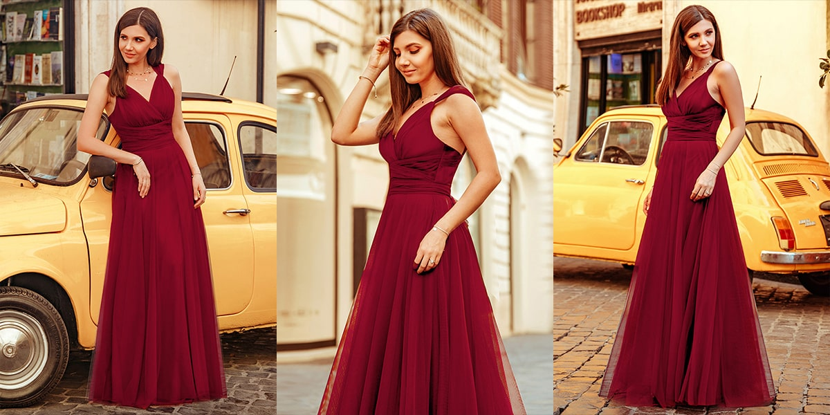 V Neck Tulle Bridesmaid Dresses