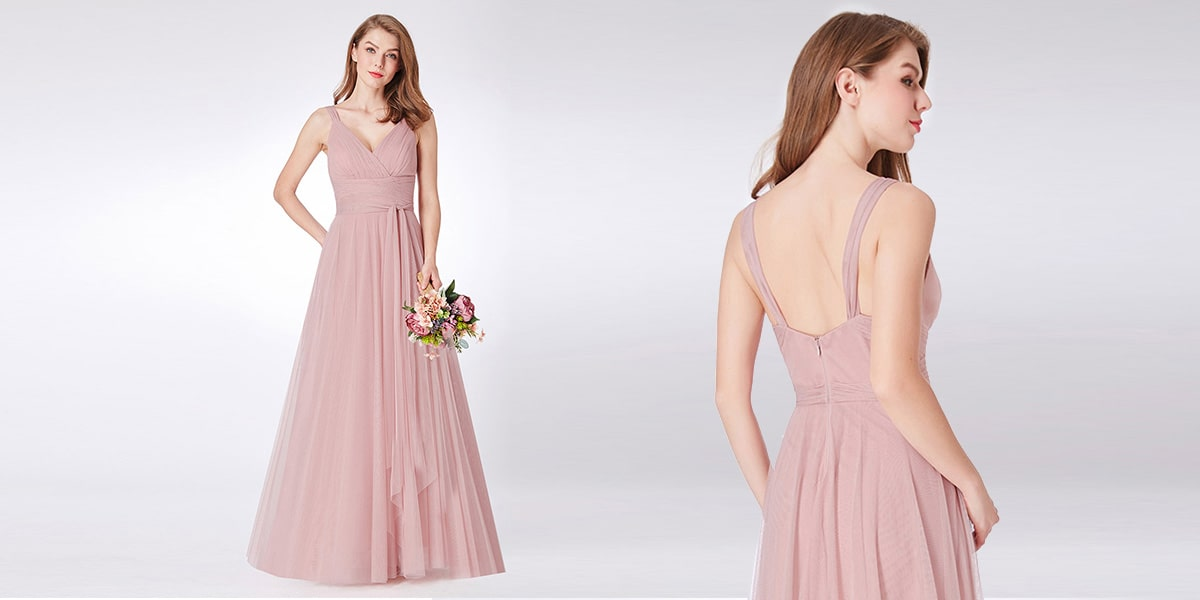 Double V Neck Tulle Bridesmaid Dresses