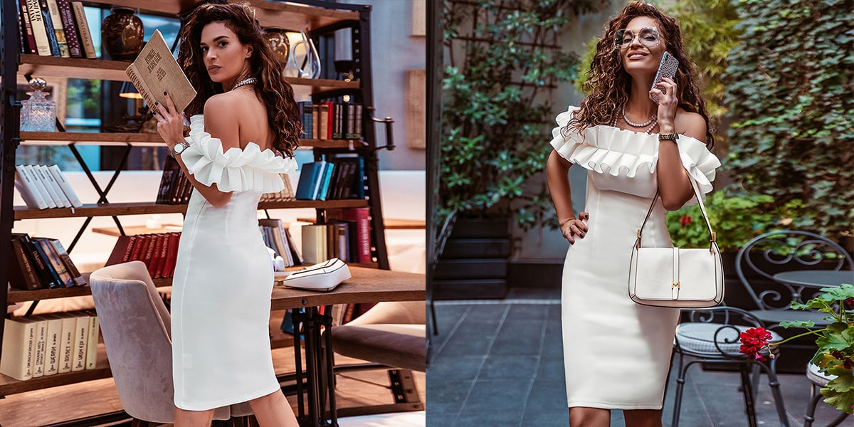 Off Shoulder Bodycon Party Dress with Ruffles