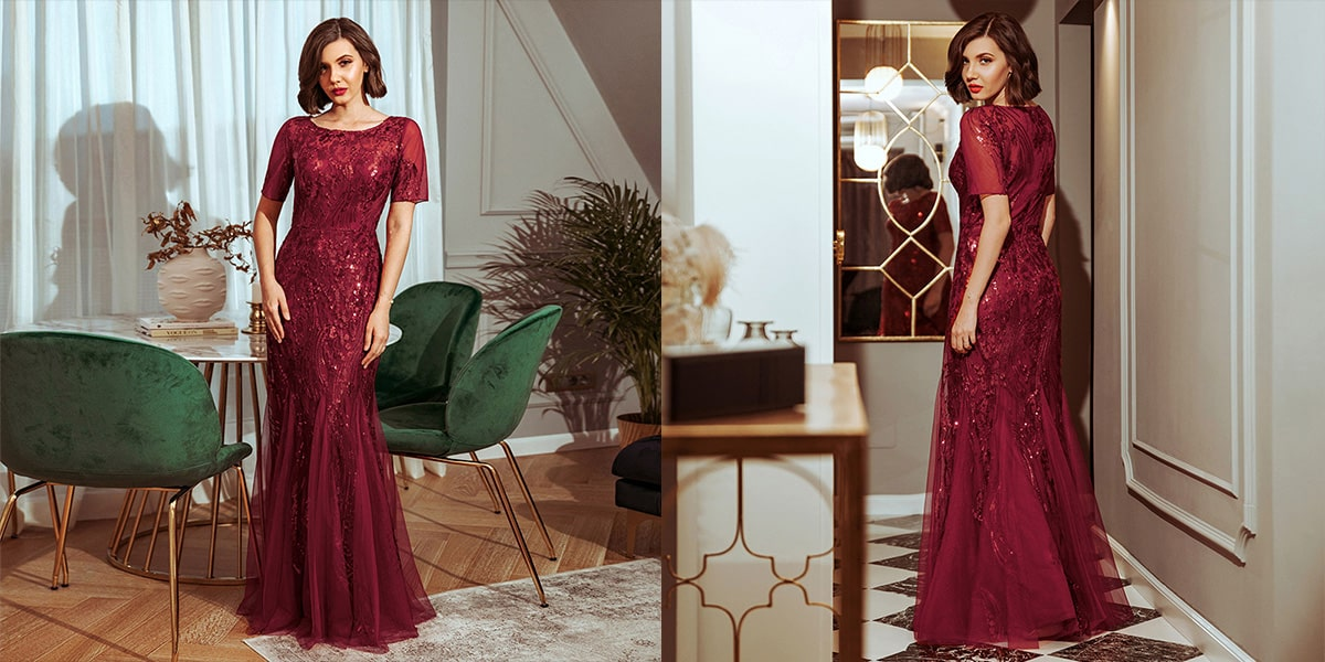 Embroidery Sequin Fishtail Evening Dress