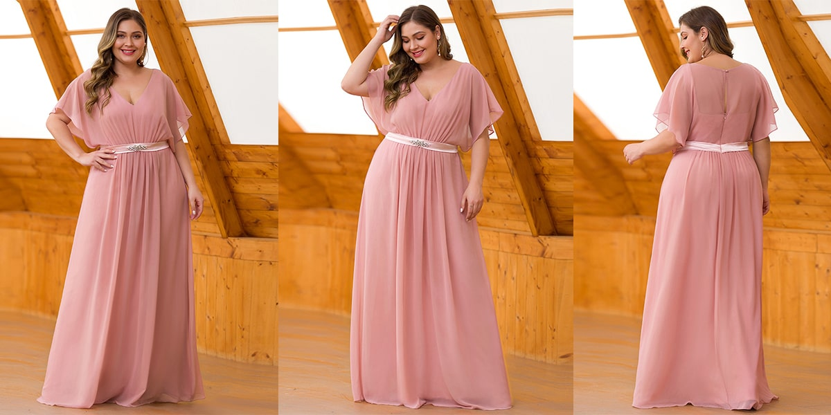 Flowy Chiffon Plus Size Evening Dress