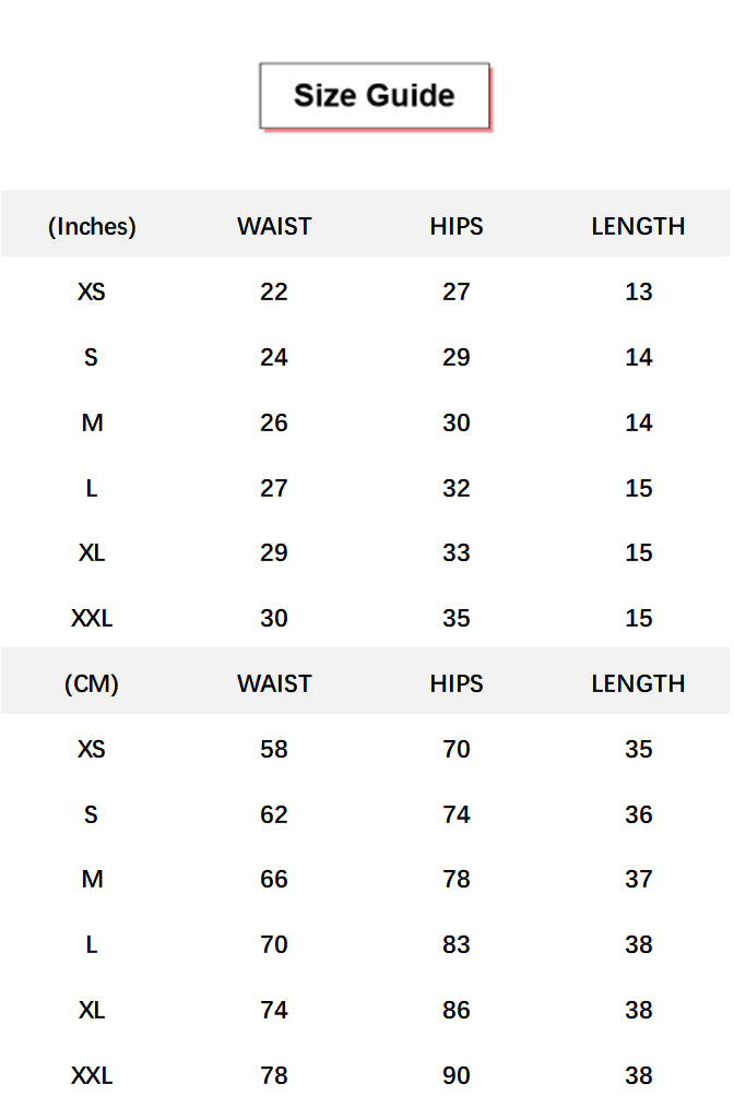 Hook Gridle High Waist Trainer 3'' Sports Shorts conversion chart & size guide