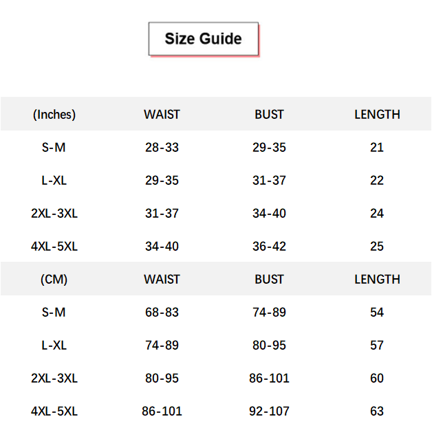 Solid Zip Front Shapewear Trainer conversion chart & size guide