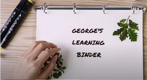 printed learning binder text labels