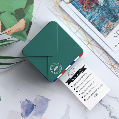 The dark green portable thermal printer refreshes the summer