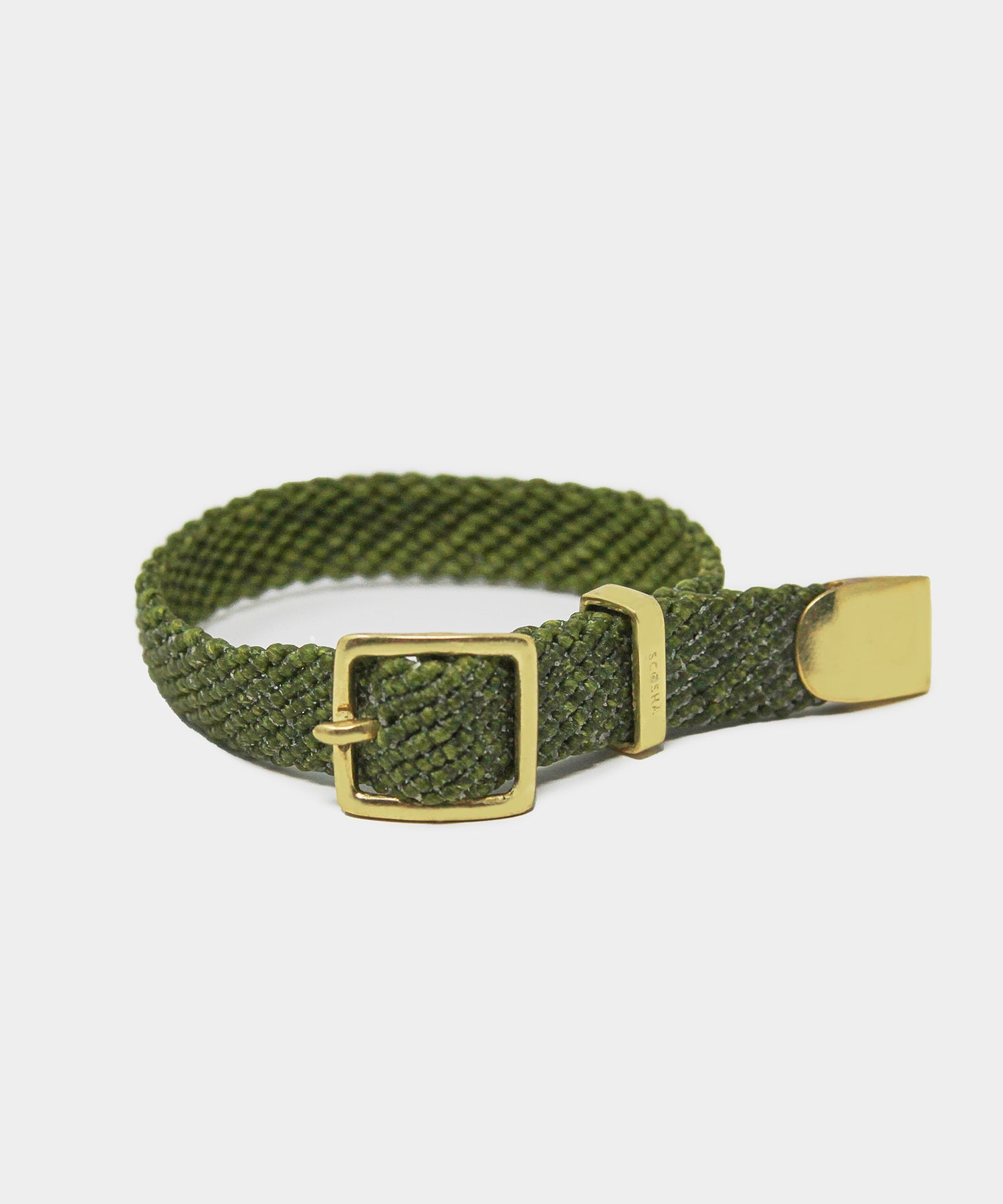 Scosha Macrame Belt Bracelet in Olive With Gold Clasp
