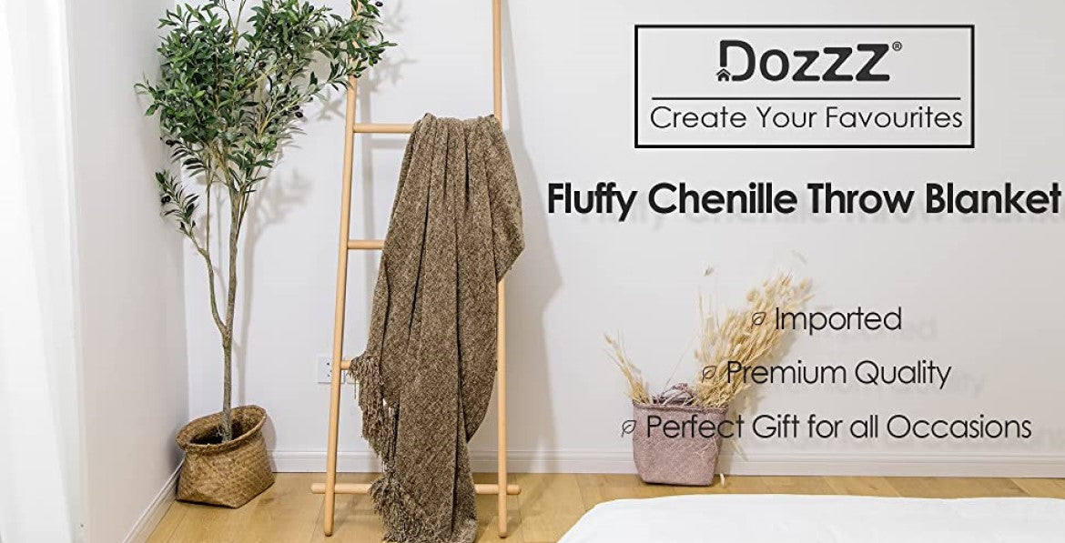 Dozzz Chenille Fluffy Knitted Blanket for Home Decor Overview 1
