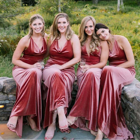 Bohemain Velvet Bridesmaid Dresses